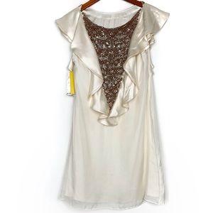 Alice + Olivia Ivory White Sequins Mini Dress NWT